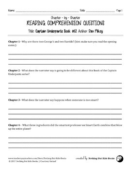 Reading Comprehension Questions for Captain Underpants Book #12