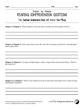 Reading Comprehension Questions for Captain Underpants Book #3
