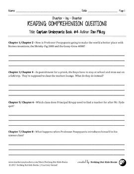 Reading Comprehension Questions | Captain Underpants Book #4