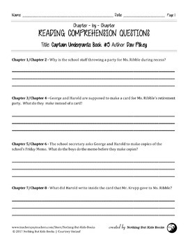 Reading Comprehension Questions for Captain Underpants Book #5