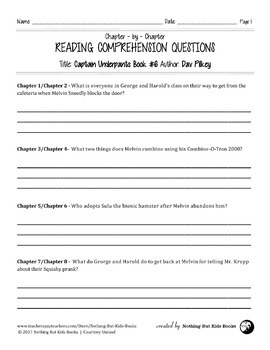 Reading Comprehension Questions for Captain Underpants Book #6
