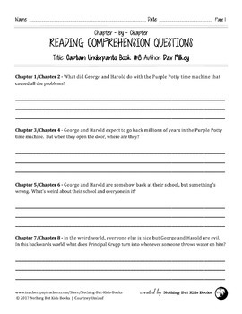Reading Comprehension Questions for Captain Underpants Book #8