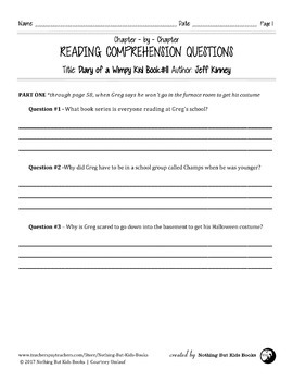 Reading Comprehension Questions | Diary of a Wimpy Kid #11