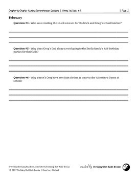 Reading Comprehension Questions for Diary of a Wimpy Kid #3
