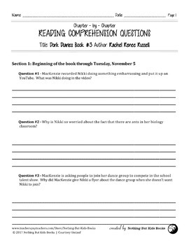 Reading Comprehension Questions | Dork Diaries #3