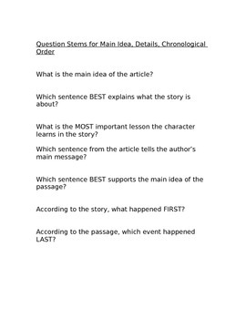Reading Comprehension Questions for Fiction Texts
