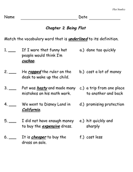 Flat Stanley - Comprehension Questions