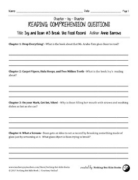Reading Comprehension Questions for Ivy and Bean #3