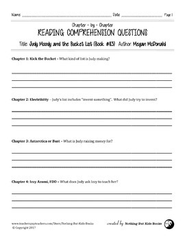 Reading Comprehension Questions for Judy Moody #13