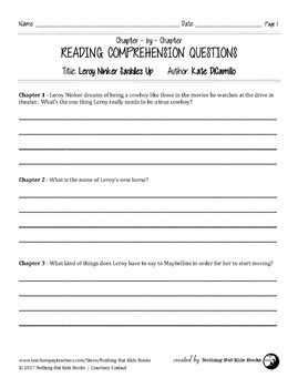 Reading Comprehension Questions | Leroy Ninker Saddles Up
