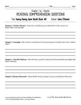 Reading Comprehension Questions for Nancy Clancy #1