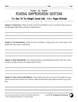 Reading Comprehension Questions   Stink #7