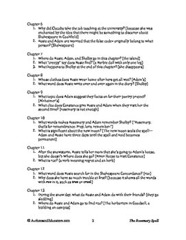 Reading Comprehension Questions for THE ROSEMARY SPELL by Virginia Zimmerman