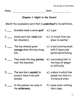 The Courage of Sarah Noble -  Comprehension Questions