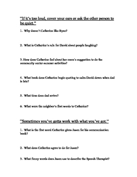 Reading Comprehension Questions for the Novel: Rules