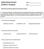 Reading Comprehension Quick Assessment Pack