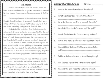 Reading Comprehension Quick Assessment Pack- Fictional Text- Print and Go