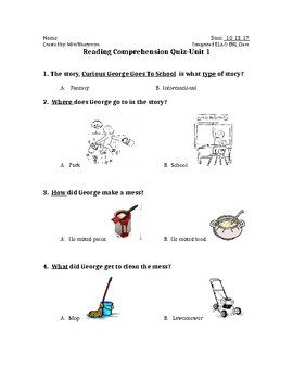 Reading Comprehension Quiz-Curious George
