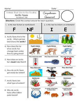 Reading Comprehension Quiz [High Level Questions] (NONFiction) ARCTIC FOXES