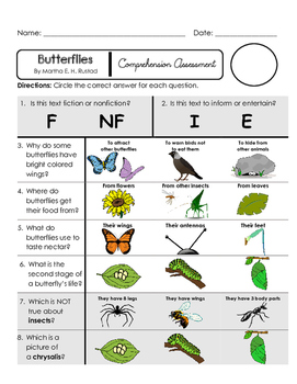 Reading Comprehension Quiz [High Level Questions] (NONFiction) BUTTERFLIES