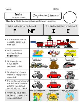 Reading Comprehension Quiz [High Level Questions] (NONFiction) TRAINS
