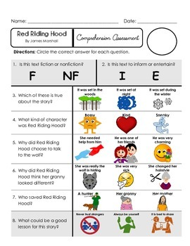 Reading Comprehension Quiz [High Level Questions] RED RIDING HOOD
