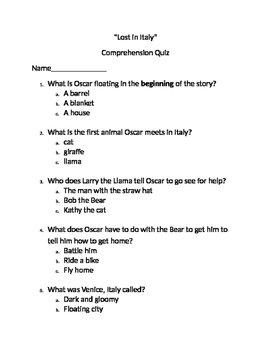 "Reading Comprehension Quiz for ""Lost in Italy"" book"