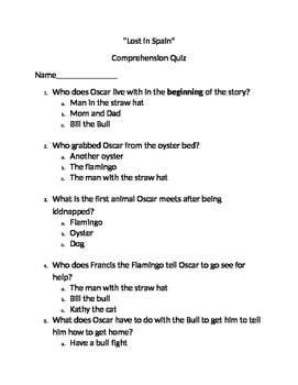 """Reading Comprehension Quiz for """"Lost in Spain"""" book"""
