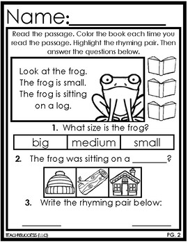 Reading Comprehension RHYMING