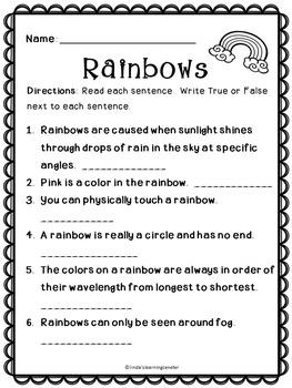 Reading Comprehension - Rainbows