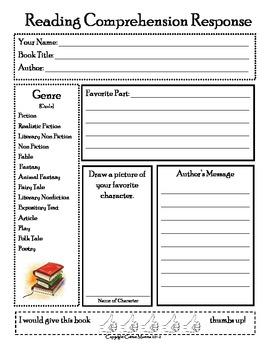 Reading Comprehension Response Form w/ Favorite Part
