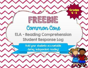 Reading Comprehension Response Log FREEBIE