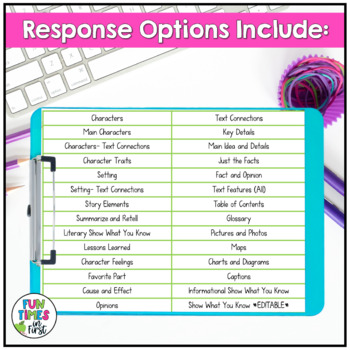 Reading Response Worksheets NO PREP