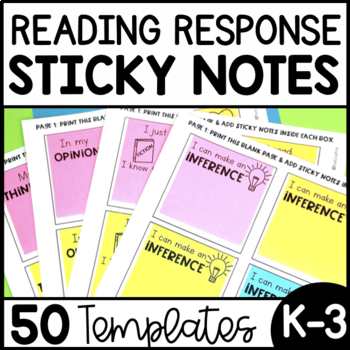 Reading Comprehension Response Sheets - Sticky Notes