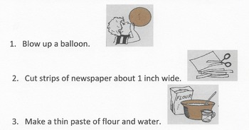 Reading Comprehension SEQUENCE Lesson: How to Make Papier-mâché Steps In Process