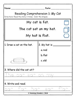 Reading Comprehension Sample Page