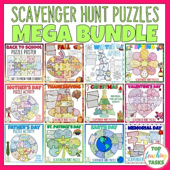 Reading Comprehension Scavenger Hunt Puzzle Posters MEGA BUNDLE