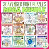 Reading Comprehension Scavenger Hunt Puzzle Posters MEGA BUNDLE