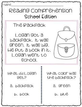 Reading Comprehension - School Edition **NO PREP**