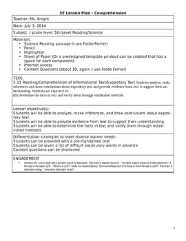 Reading Comprehension & Science Integrated 5E Lesson Plan
