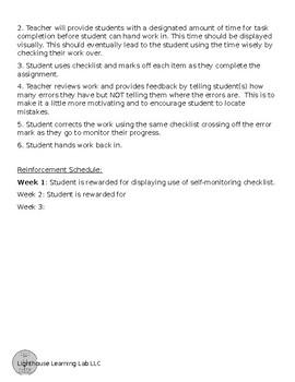 Reading Comprehension Self-Monitoring Checklist
