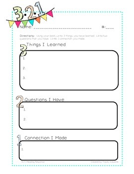 Reading Comprehension Sheet 3-2-1