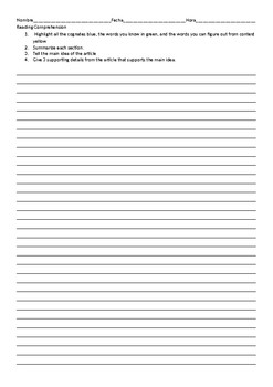 Reading Comprehension Sheet