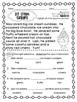 Reading Comprehension Sheets- Adjectives {15 Passages for Early Readers}