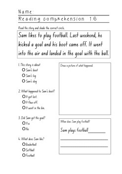 Reading Comprehension Sheets for Yr1 or weak Yr2/Yr3 Set 2 - 10 pages