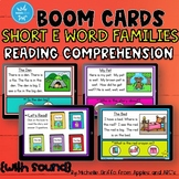 Reading Comprehension Short E Word Family Boom Cards