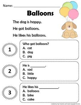 Reading Comprehension Short Stories for Beginning Readers