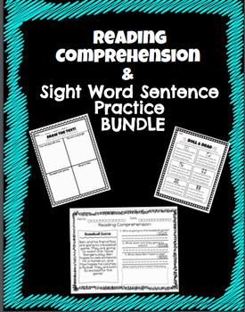 Reading Comprehension & Sight Word Sentence Bundle! No Prep!