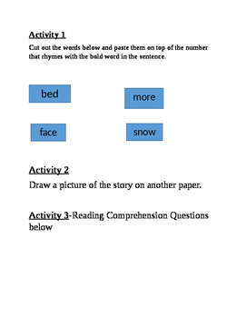 Reading Comprehension, Site Words, Rhyming