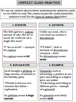 Reading Comprehension Skill Assessment and Practice - Context Clues/Central Idea